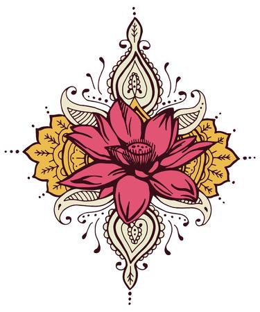 henna design: Paisley Lotus Flower Henna Design Abstract Henna Illustration