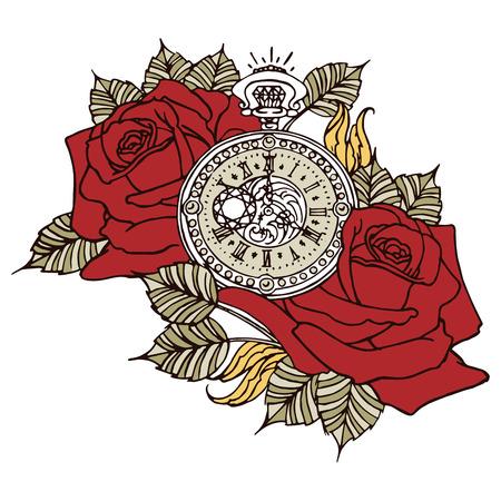 pockets: Rose Clock Retro Flower Design Vector Red Illustration