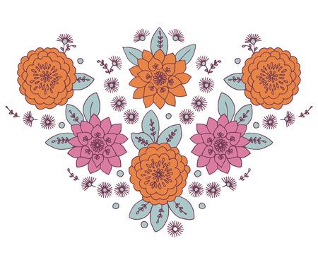 neckline: Neckline Woman Floral Vector neckline Lace Design