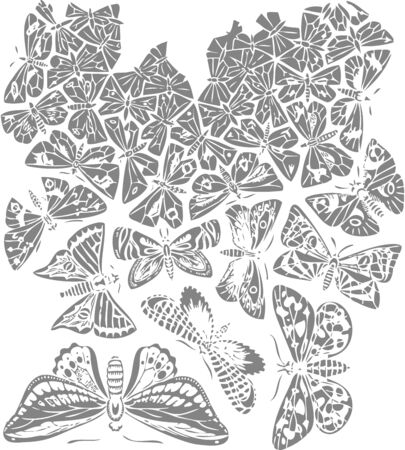 Butterfly abstract art design plant vector Illustration