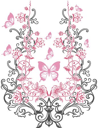 decorum: Butterfly abstract art plant vector design