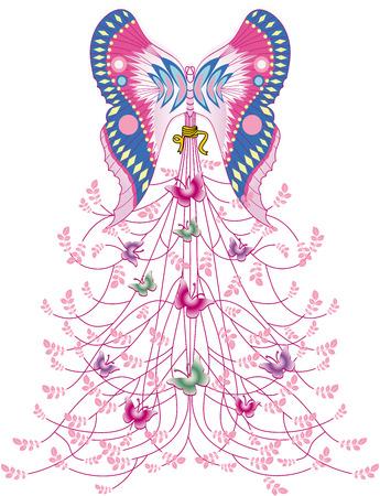 Papillon art conception abstraite de vecteur de plante