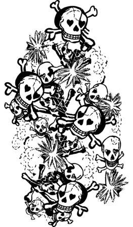 Skull Rose Vector Illustration Design Art  イラスト・ベクター素材