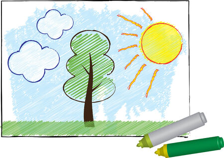 Summer landscape drawn with plastic markers Illustration