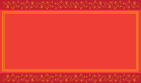 Red background with floral ornament