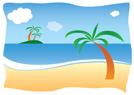 littoral: Sunny sand beach with palm Illustration