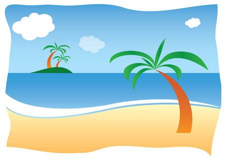 Sunny sand beach with palm Illustration