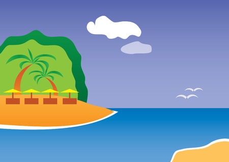 Tropical resort: island, palms, sea and sunny blue sky Illustration