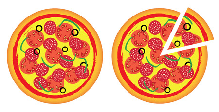 Two pizzas, a whole and notched