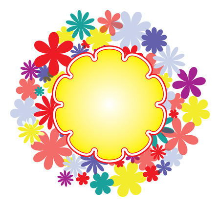 Round flower frame with place for text