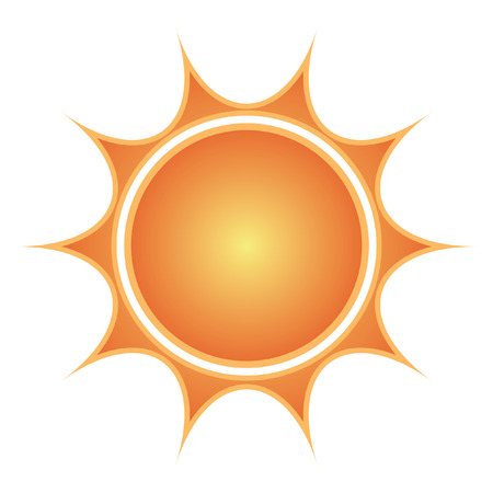 Sun on white background can be used as icon