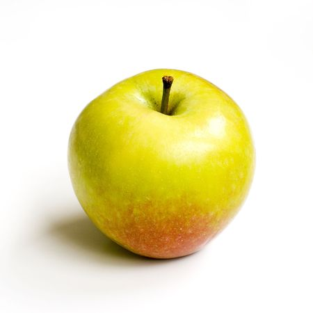 Fresh yellow-red apple om white background