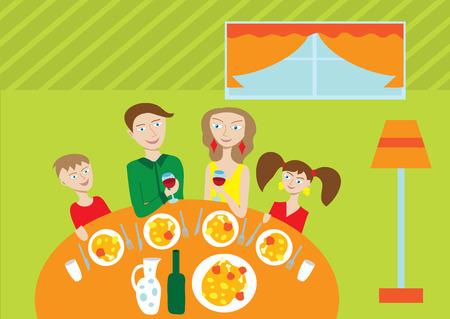 Familia feliz de cuatro miembros en la mesa Ilustración de vector