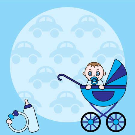 Blue square baby boy announcement Illustration