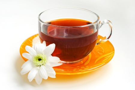 cup of tea and flower Stock Photo