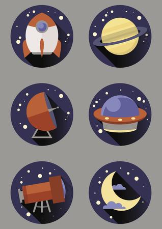 Set of six round space icons Illustration