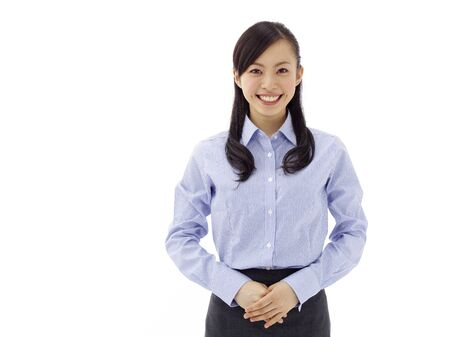 business woman smiling - isolated over a white background