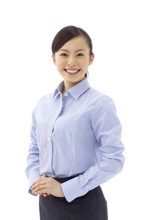 ビジネスの女性の笑みを浮かべて - 白色の背景上の分離 写真素材