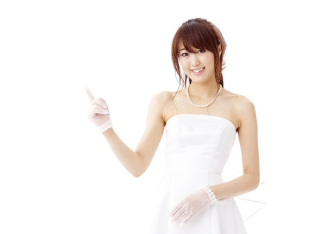 bride in beauty white dress Stock Photo