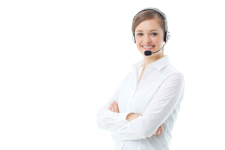 business centre: Support phone operator in headset, isolated on white
