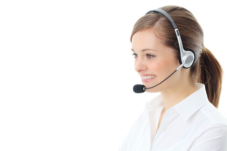 service center: Support phone operator in headset, isolated on white