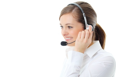 call center: Support phone operator in headset, isolated on white