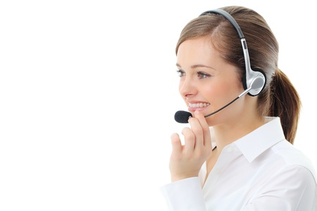 Support phone operator in headset, isolated on white Stock Photo - 13119003