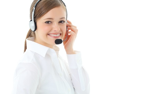phone operator: Support phone operator in headset, isolated on white