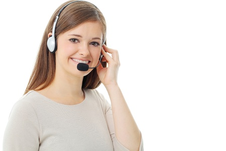 Portrait of happy smiling cheerful support phone operator in headset, isolated on white background Stock Photo - 13121562