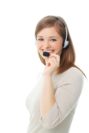 call center female: Portrait of happy smiling cheerful support phone operator in headset, isolated on white background