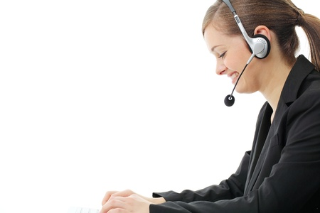 salesperson: Customer service operator woman with headset, isolated on white background. Stock Photo