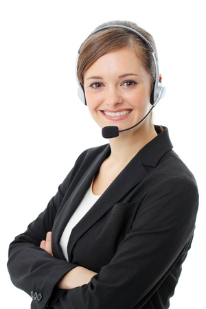 handsfree phone: Customer service operator woman with headset, isolated on white background. Stock Photo
