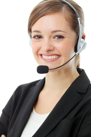 Customer service operator woman with headset, isolated on white background. Stock Photo - 13121650