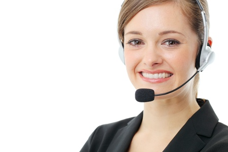 Customer service operator woman with headset, isolated on white background. Stock Photo - 13121535