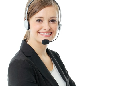Customer service operator woman with headset, isolated on white background. photo