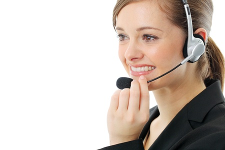 Customer service operator woman with headset, isolated on white background. Stock Photo - 13121553