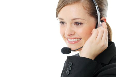 Customer service operator woman with headset, isolated on white background. Stock Photo - 13121559