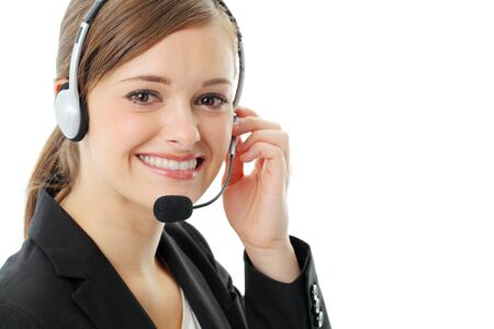 Customer service operator woman with headset, isolated on white background. Stock Photo - 13121548
