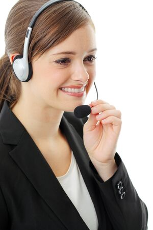 phone operator: Customer service operator woman with headset, isolated on white background. Stock Photo