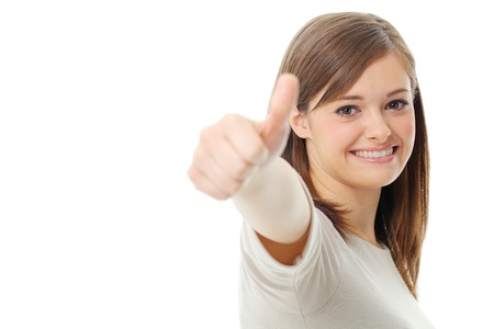 good life: Young woman showing a thumbs up