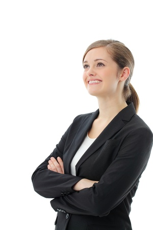 Closeup portrait of cute young business woman smiling photo