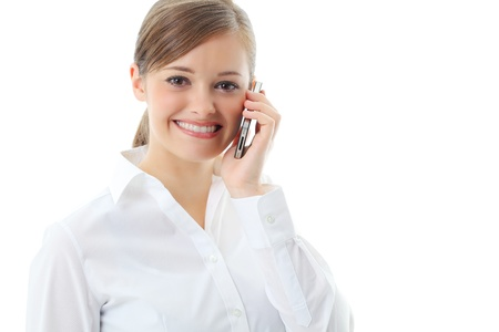 Young business woman, isolated over white background photo