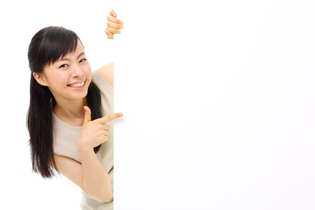 young business woman holding blank billboard, isolated on white background Stock Photo