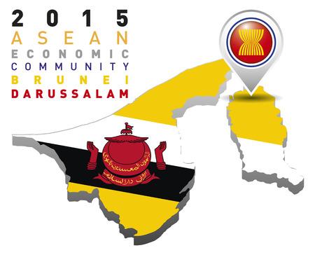 brunei darussalam: 2015 Asean Economic Community Brunei Darussalam Illustration