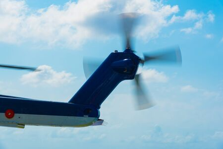 rotor: tail rotor of helicopter is rotating Stock Photo