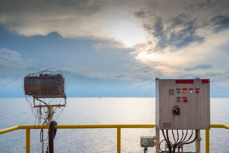 distribution board: Picture of the electrical panel in an offshore drilling rig Stock Photo