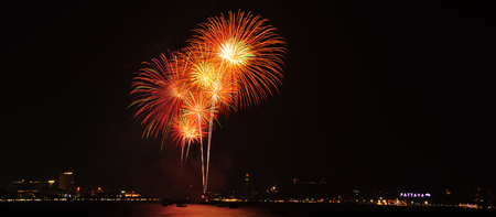 Landscapte of Fireworks Festival at Pattaya, Thailand
