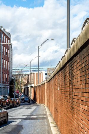 retaining: Front street and retaining wall off a highway in Philadelphia