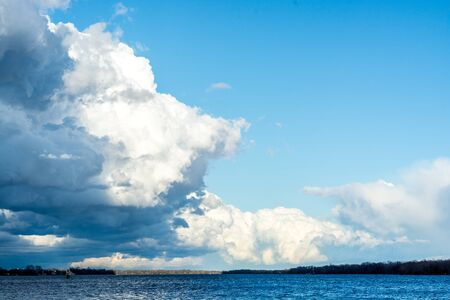 Clouds with blue sky over Delaware River Banco de Imagens