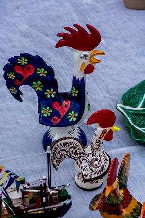 Painted ceramic roosters of Portugal -national pride Banco de Imagens